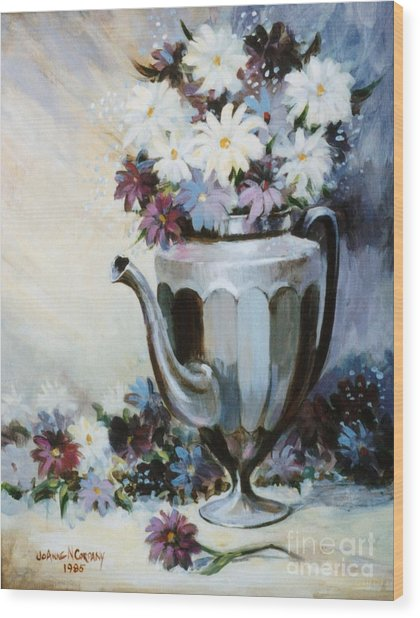 Pewter Coffee Pot And Daisies Wood Print by JoAnne Corpany