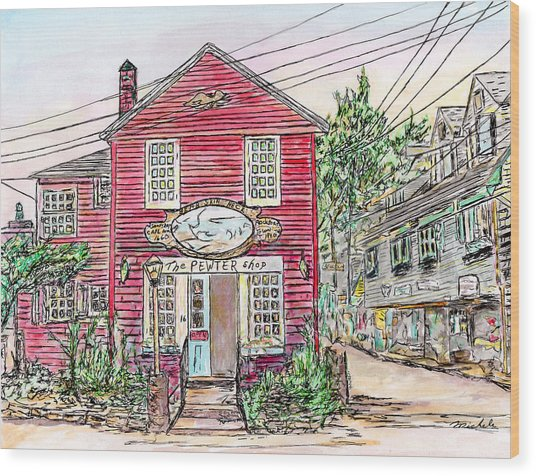 Pewter Shop, Rockport Massachusetts Wood Print