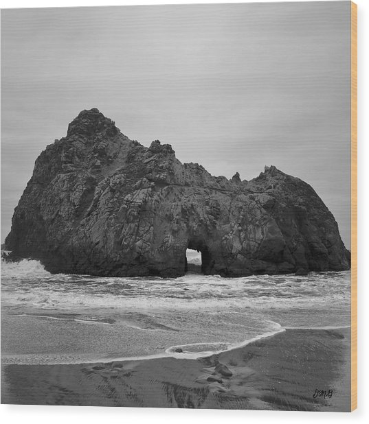 Pfeiffer Beach II Bw Wood Print