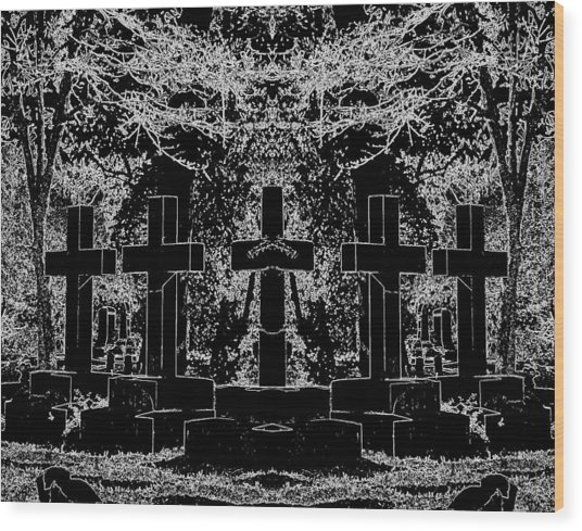 Phantom Of The Cemetery Wood Print