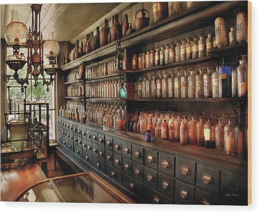 Pharmacy - So Many Drawers And Bottles Wood Print