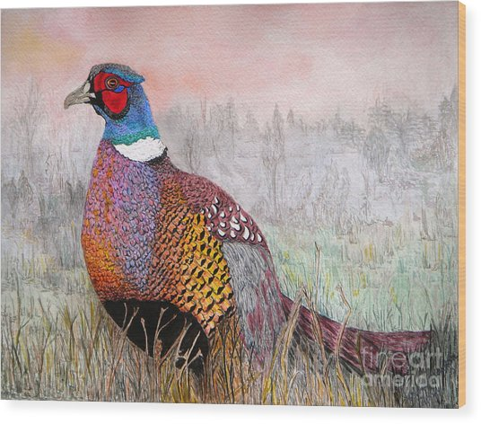 Pheasant Dawn Wood Print