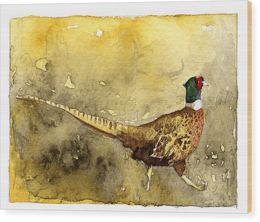 Pheasant Wood Print by Eunice Olson