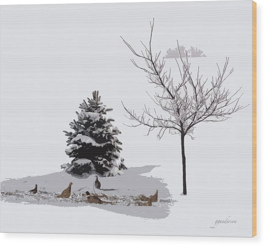 Pheasants In The Snow Wood Print