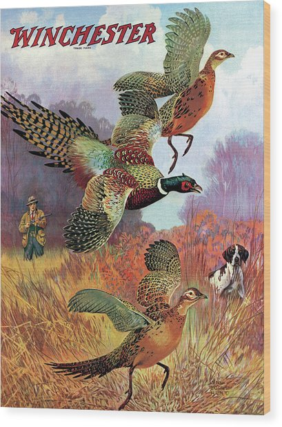 Pheasants On The Rise Wood Print