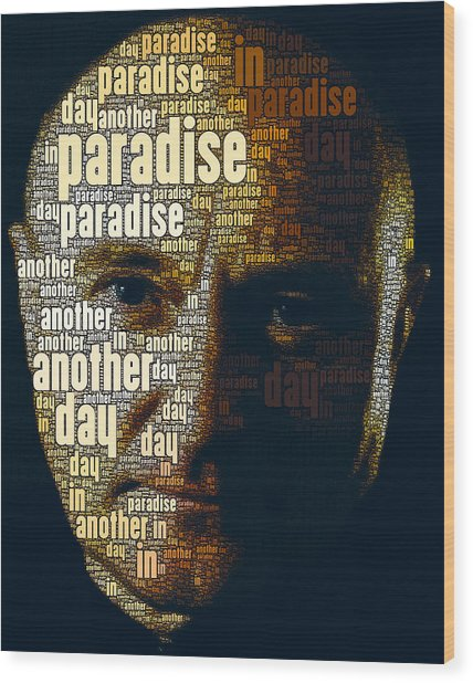 Phil Collins Word Portrait  Wood Print