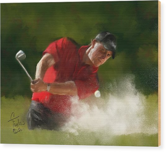Phil Mickelson - Lefty In Action Wood Print