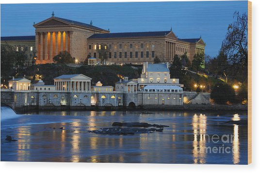 Philadelphia Art Museum And Fairmount Water Works Wood Print