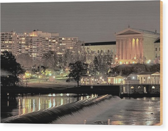 Philadelphia Art Museum In Pastel Wood Print