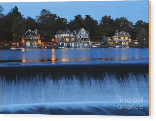 Philadelphia Boathouse Row At Twilight Wood Print