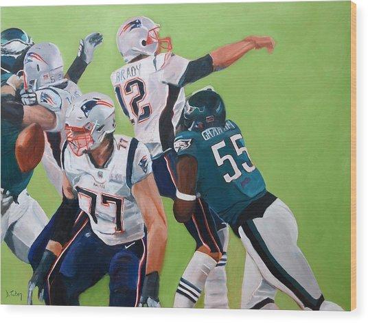 Philadelphia Eagles Strip-sack Of Tom Brady In Super Bowl Lii  Wood Print