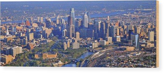 Philadelphia Museum Of Art And City Skyline Aerial Panorama Wood Print
