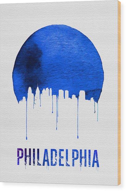 Philadelphia Skyline Blue Wood Print