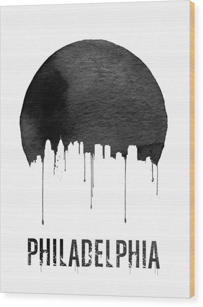 Philadelphia Skyline White Wood Print