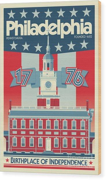 Philadelphia Poster - Independence Hall Wood Print