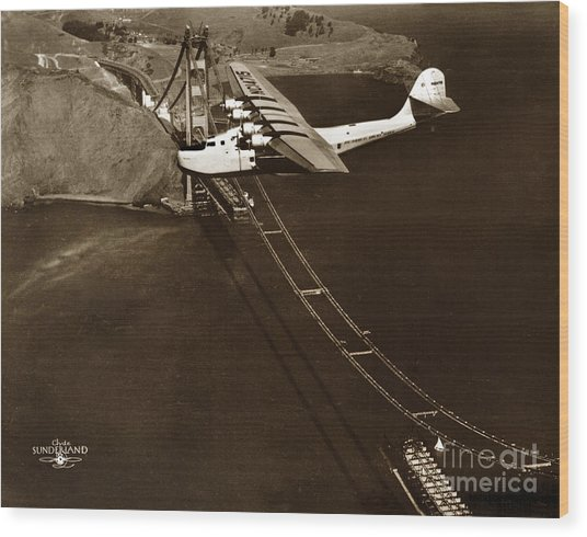Philippine Clipper A Pan Am Clipper Over The Golden Gate Bridge  1935 Wood Print