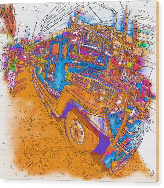 Philippine Girl Walking By A Jeepney Wood Print