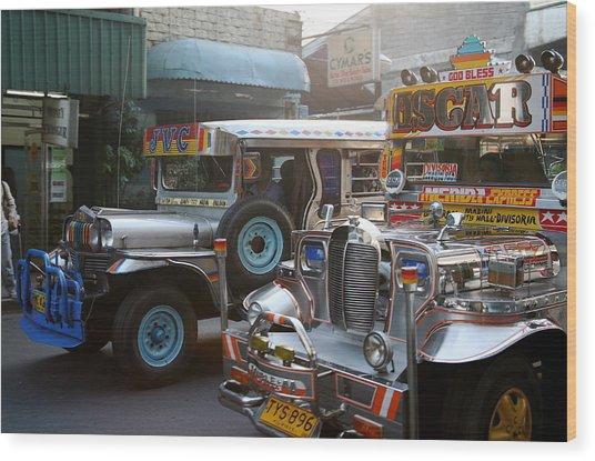 Philippine Jeepneys.  Wood Print