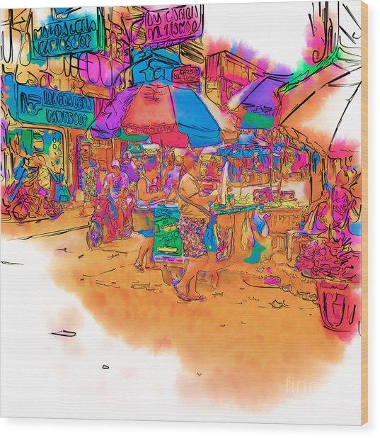Philippine Open Air Market Wood Print