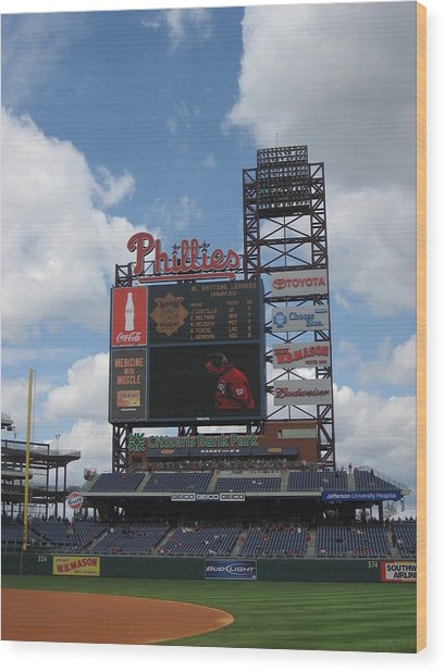 Phillies Wood Print by Jennifer  Sweet