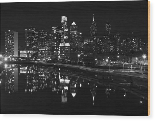 Philly And The Schuylkill Bw Wood Print