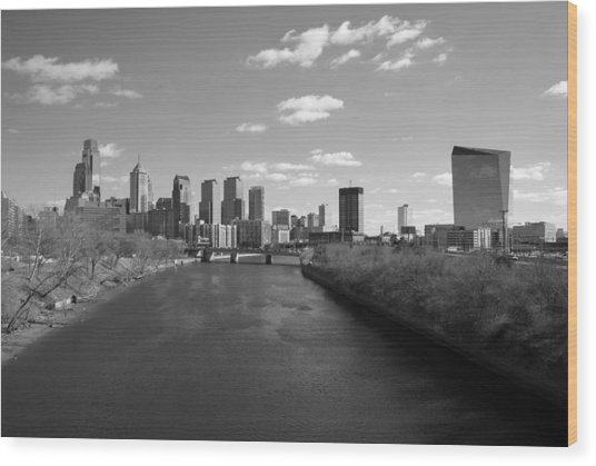 Philly B/w Wood Print