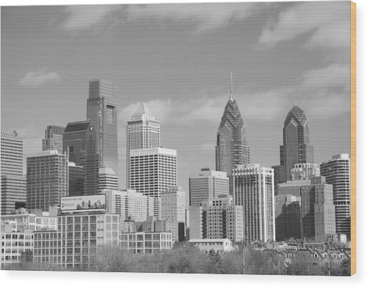 Philly Skyscrapers Black And White Wood Print