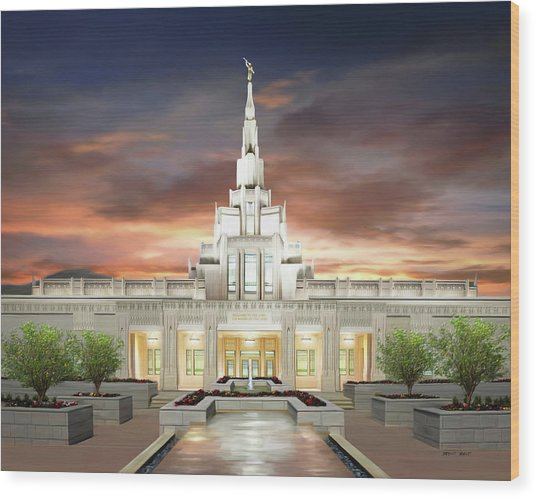 Phoenix Arizona Temple Wood Print by Brent Borup