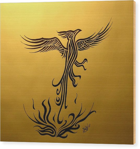 Wood Print featuring the drawing Phoenix by Michelle Dallocchio