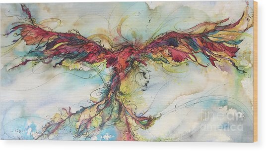 Phoenix Rainbow Wood Print