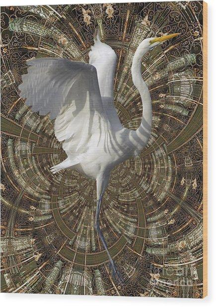 Phoenix Rising Wood Print by Chuck Brittenham