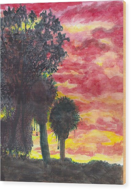 Phoenix Sunset Wood Print