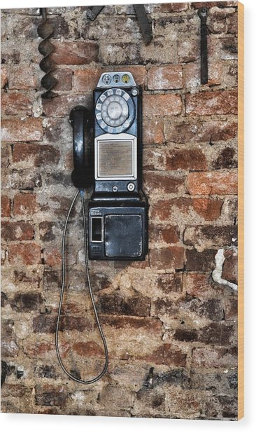 Pay Phone  Wood Print