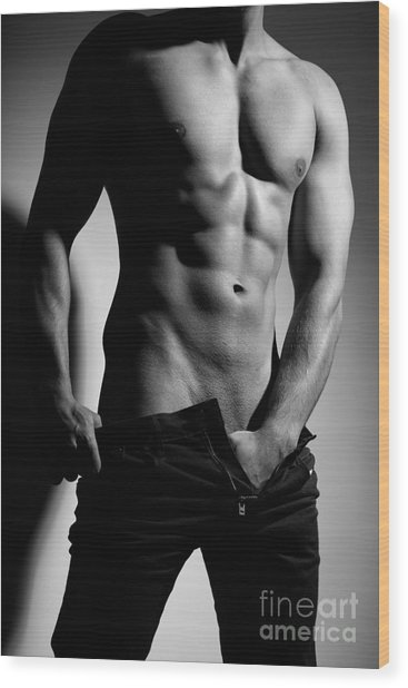 Photograph Of A Sexy Man In Black And White #9981g Wood Print