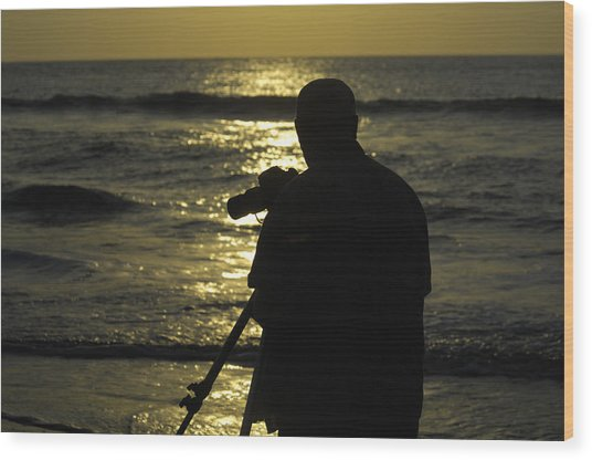 Photographer And Atlantic Ocean Sunrise Wood Print by Darrell Young
