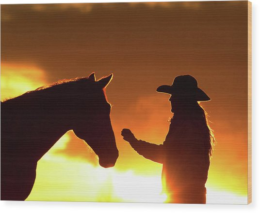 Cowgirl Sunset Sihouette Wood Print