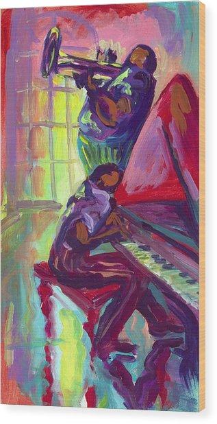 Piano And Trumpet Wood Print by Saundra Bolen Samuel