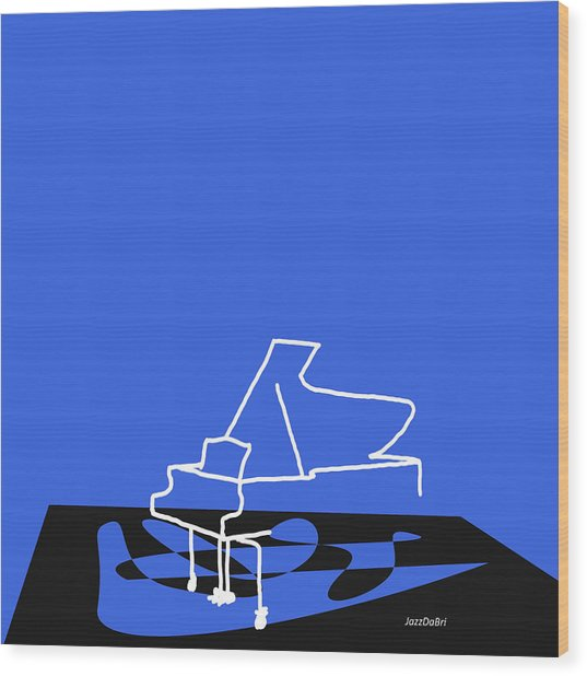 Piano In Blue Wood Print