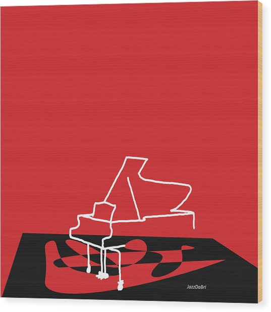 Piano In Red Wood Print