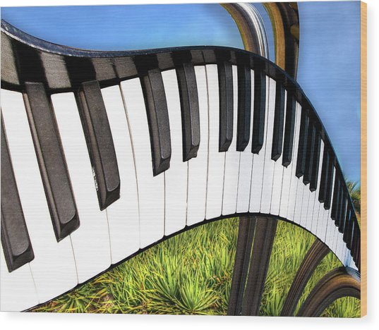 Piano Land Wood Print