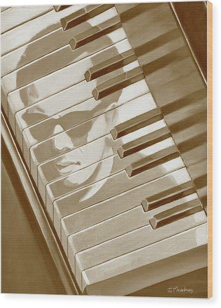 Piano Man In Sepia Wood Print