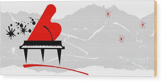 Piano Wood Print by Mimo Krouzian