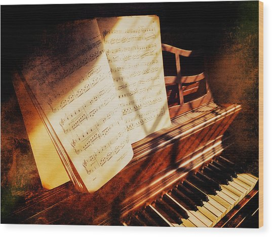 Piano Sheet Music Wood Print