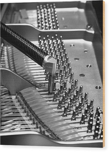 Piano Tuning Bw Wood Print