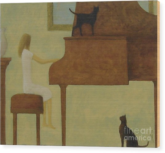 Piano Two Cats Wood Print