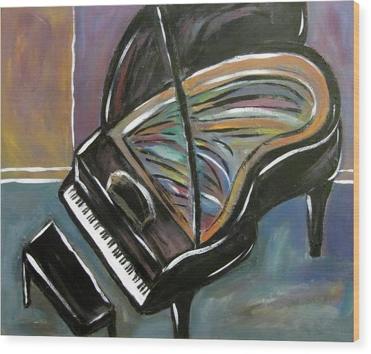 Piano With High Heel Wood Print