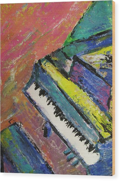 Piano With Yellow Wood Print