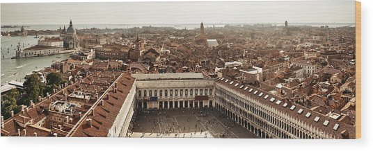 Wood Print featuring the photograph Piazza San Marco Bell Tower Panorama View by Songquan Deng