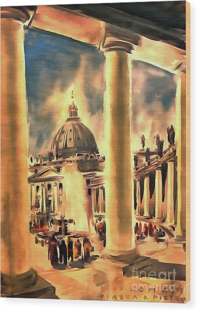 Piazza San Pietro In Roma Italy Wood Print