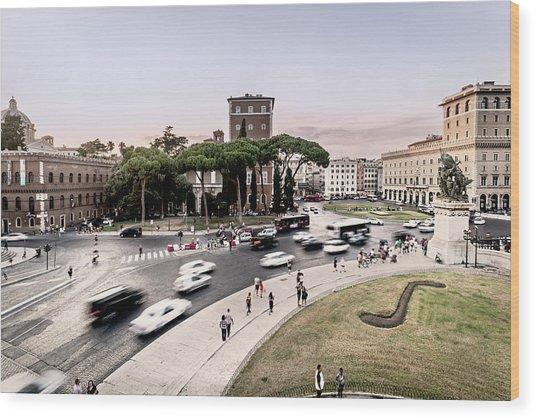 Piazza Venezia, Rome Wood Print by Ute Herzog